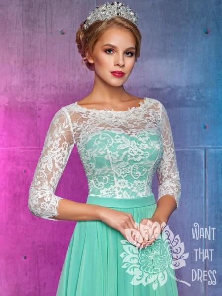 Платье на выпускной -  клементина (мятное, персиковое)