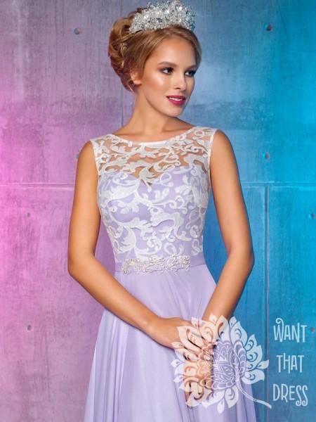 Платье на выпускной -  лилия (голубой)