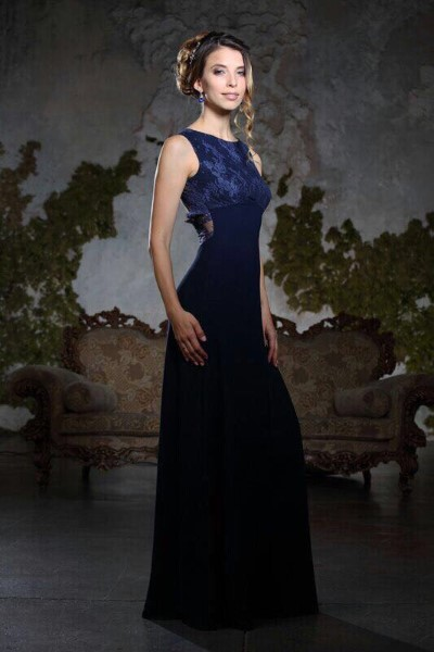 Платье на выпускной -  люси вечернее (айвори, синий, бирюза)