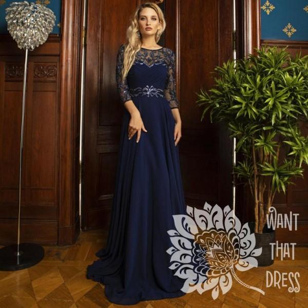 Длинное вечернее платье мирра с рукавами new