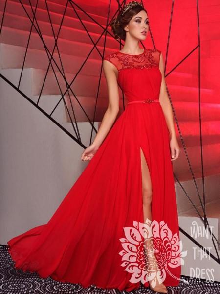 Длинное вечернее платье одри красное