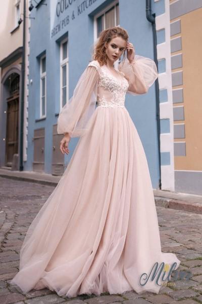 Вечернее платье Villina пудрового цвета с длинным рукавом
